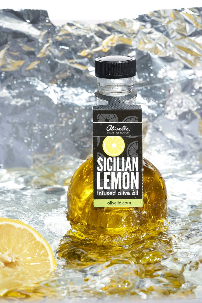 Creative food photography of Sicilian lemon infused olive oil