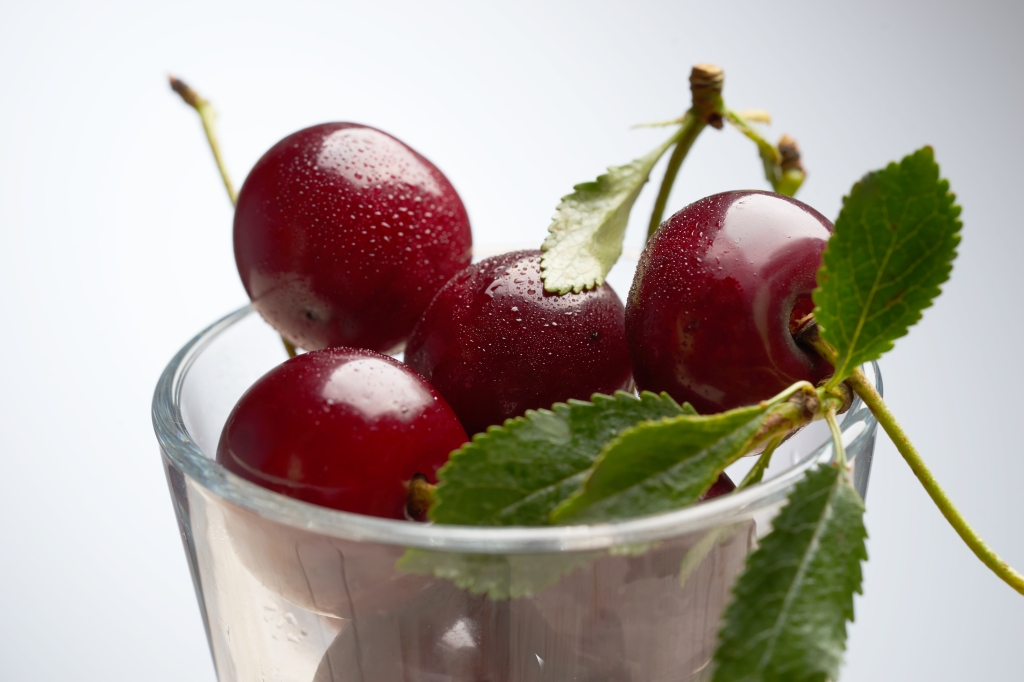 Close up of cherries in a cup from Svelvik, Drammen, Norway